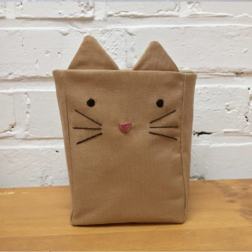 Cache-pot tissu marron chat